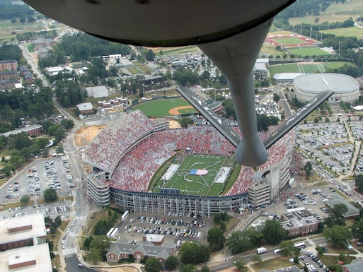 AUBURN, Ala. -- A KC-135R Stratotanker flies over Auburn University's homecoming game here Sept. 24 in support of military appreciation day and the Air Force anniversary. The KC-135 is from the Alabama Air National Guard's 117th Air Refueling Wing in Birmingham, Ala.  (U.S. Air Force photo by 2nd Lt. Sean Flynn)