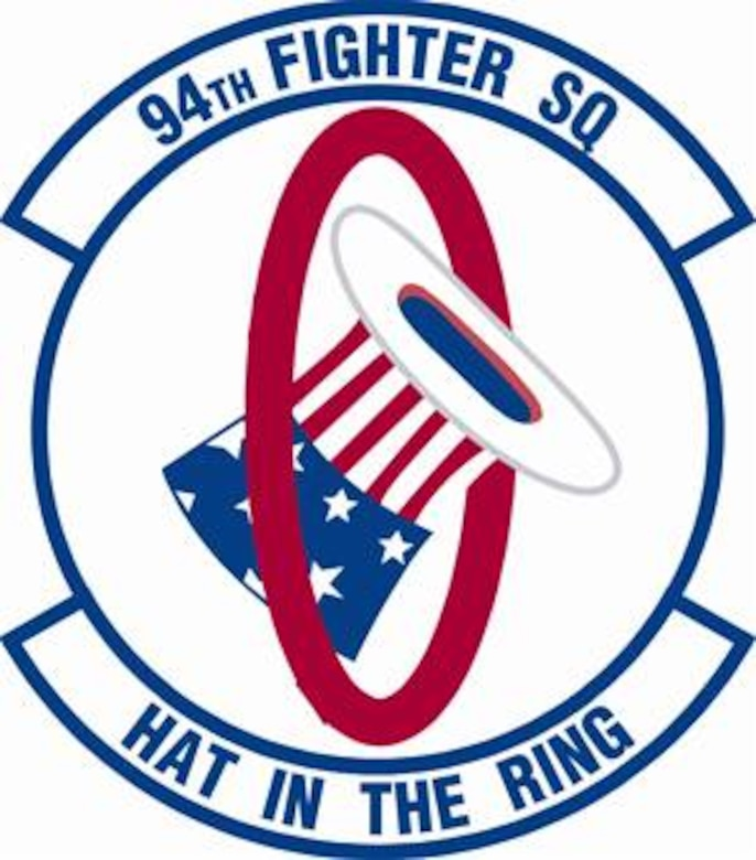 94th Fighter Squadron shield (color) provided by 1st FW Public Affairs office.
