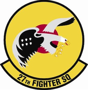 27th Fighter Squadron shield (color) provided by 1st FW Public Affairs office.