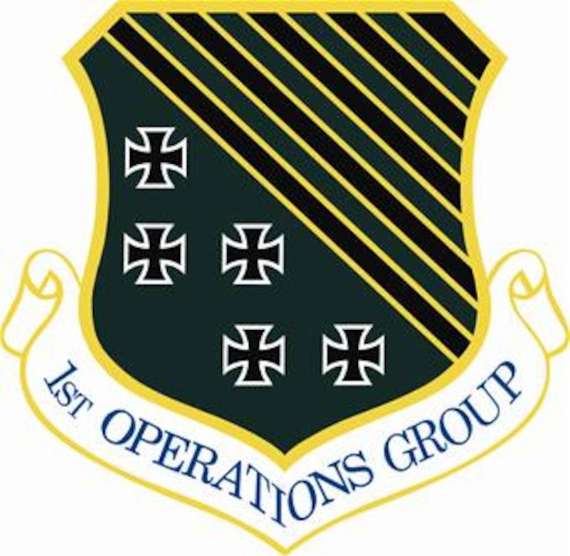 1st Operations Group shield (color) provided by 1st FW Public Affairs office.