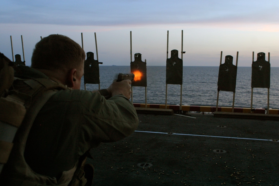 Force Reconnaissance Marines assigned to the 24th Marine Expeditionary Unit undergo weapons training aboard the USS Iwo Jima during the MEU's Expeditionary Strike Group Exercise April 6, 2006.