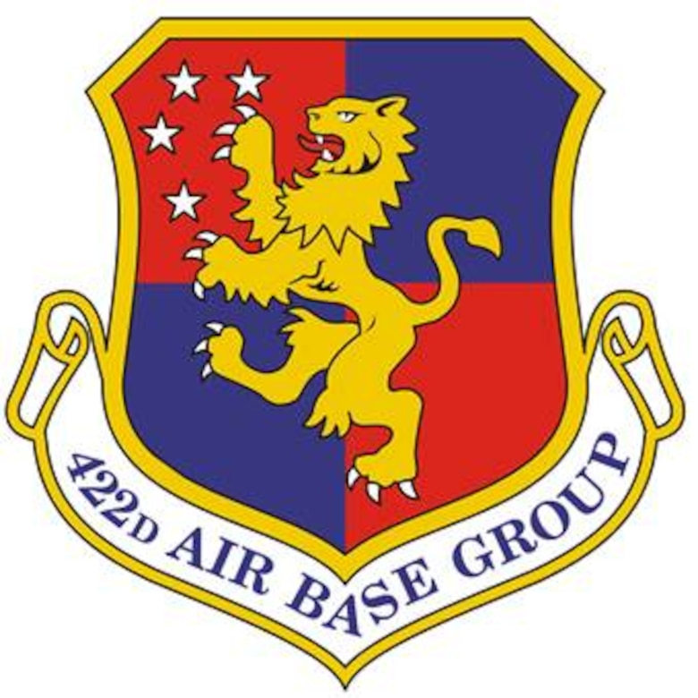 422d Air Base Group shield (color) provided by 422d Air Base Squadron Public Affairs office.