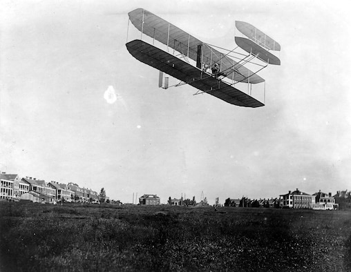 Orville Wright took the 1908 Flyer to Fort Myer, Va., in August 1908, and made flights almost daily. (U.S. Air Force photo)