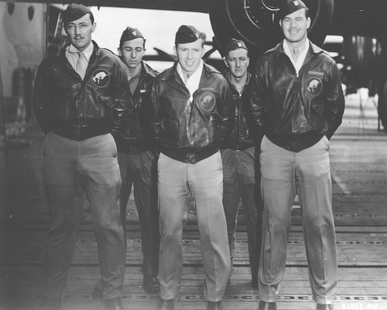 Crew No. 4 (Plane #40-2282, target Tokyo): 95th Bombardment Squadron, front row: Lt. Everett W. Holstrom, pilot; and Lt. Lucian N. Youngblood, copilot; back row: Lt. Harry C. McCool, navigator; Sgt. Robert J. Stephens, bombardier; and Cpl. Bert M. Jordan, flight engineer/gunner. (U.S. Air Force photo)