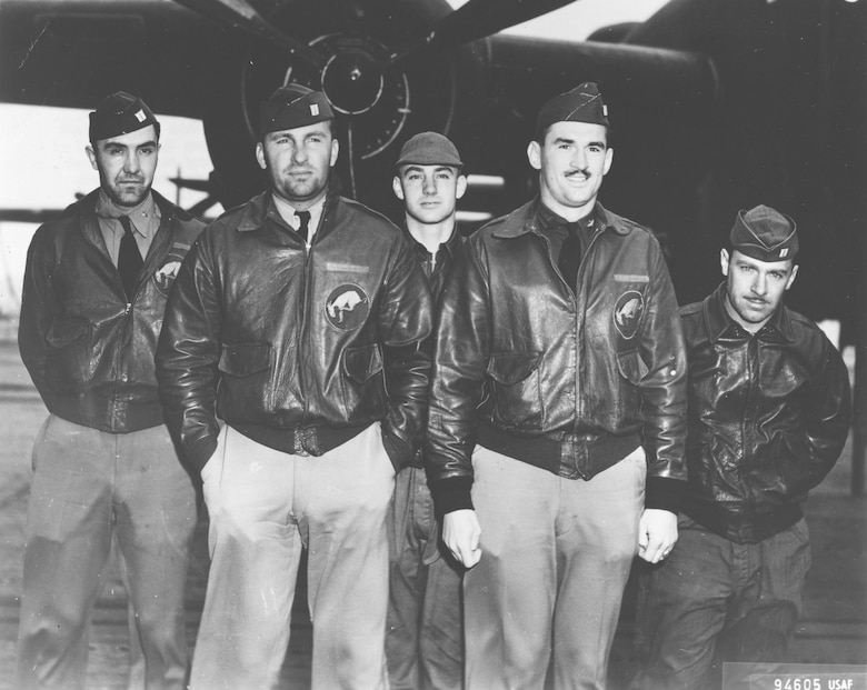 Crew No. 6 (Plane #40-2298, target Tokyo): 95th Bombardment Squadron, front row: Lt. Dean E. Hallmark, pilot; and Lt. Robert J. Meder, copilot; back row: Lt. Chase J. Nielsen, navigator; Sgt. William J. Dieter, bombardier; and Sgt. Donald E. Fitzmaurice, flight engineer/gunner. (U.S. Air Force photo)
