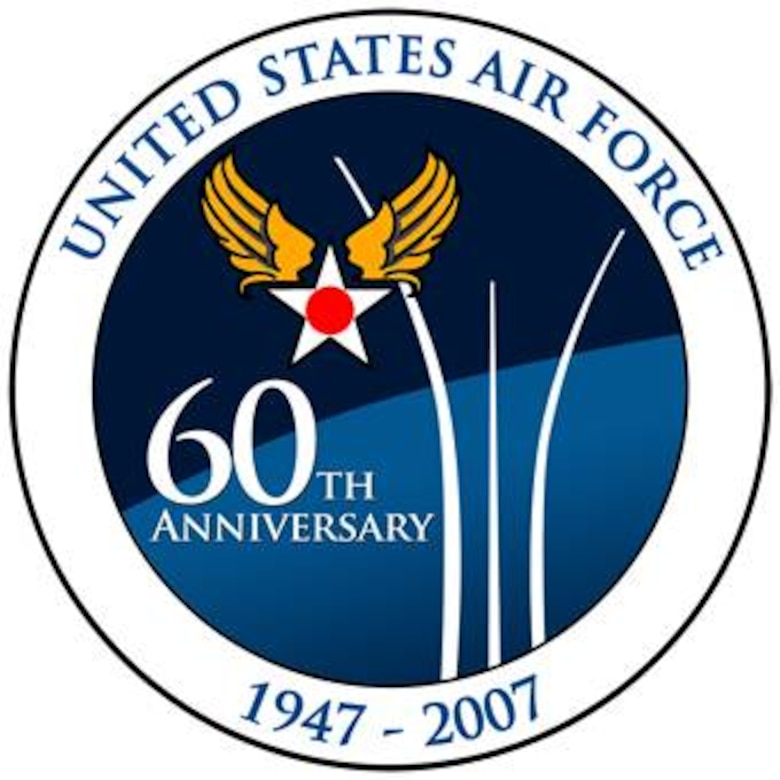 """60th Anniversary Commemoration Coin.  Image is 4x4 inches @ 240 ppi.  This image was developed to capture the theme of the AF 60th Anniversary -""""Heritage to Horizons: Commemorating 60 Years of Air and Space Power"""".  The early release of this logo is intended for planning purposes in preparation for the kick off in Oct '06.  The official release/use of the AF 60th logo will begin October 14, 2006 by order of the CSAF.  Use of the logo is generally unrestricted within the Air Force and may/should be used on a variety of items including:  Letterhead, Briefings, Folders and Sales Promotional Items (Stickers, Shirts, Mugs, Patches, Coins…)  The Air Force retains trademark rights to the LOGO.  If anyone outside the AF wants to use the logo contact Mr. Harry Lupuloff, via email at Harry.Lupuloff@pentagon.af.mil or call 703-588-5090."""