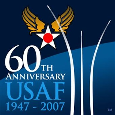 """60th Anniversary Commemoration Logo.  Image is 4x4 inches @ 300 ppi.  The logo was developed to capture the theme of the AF 60th Anniversary -""""Heritage to Horizons: Commemorating 60 Years of Air and Space Power"""".  The early release of this logo is intended for planning purposes in preparation for the kick off in Oct '06.  The official release/use of the AF 60th logo will begin October 14, 2006 by order of the CSAF.  Use of the logo is generally unrestricted within the Air Force and may/should be used on a variety of items including:  Letterhead, Briefings, Folders and Sales Promotional Items (Stickers, Shirts, Mugs, Patches, Coins…)  The Air Force retains trademark rights to the LOGO.  If anyone outside the AF wants to use the logo contact Mr. Harry Lupuloff, via email at Harry.Lupuloff@pentagon.af.mil or call 703-588-5090."""