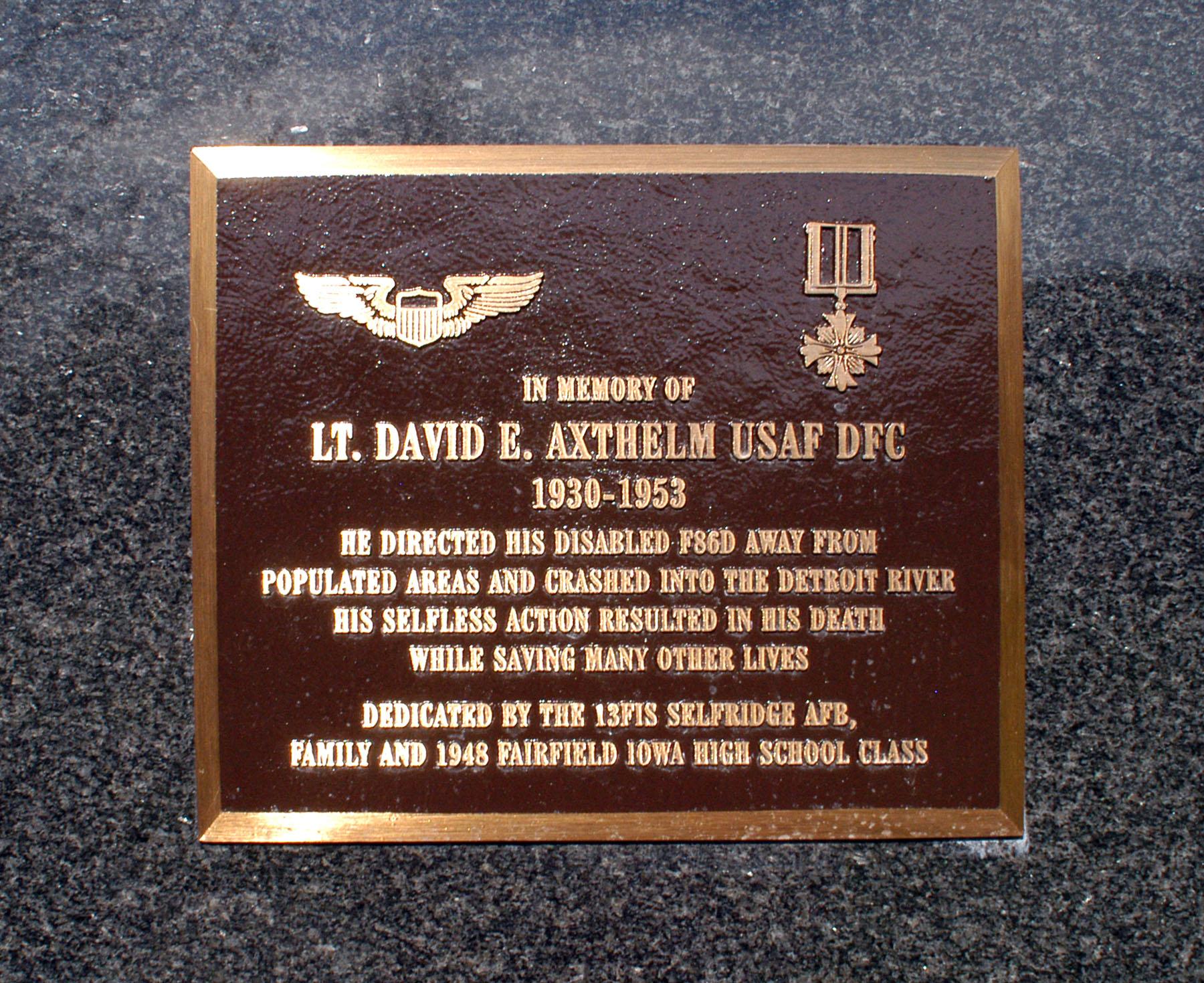 Lt. David Axthelm Memorial