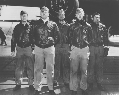 Navigator Lt. Thomas Griffin is shown with the rest of Crew No. 9. Also pictured are: Lt. Harold F. Watson, pilot; Lt. James N. Parker Jr., copilot; Sgt. Wayne M. Bissell, bombardier; and TSgt. Eldred V. Scott, flight engineer/gunner.