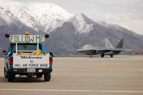 HILL AIR FORCE BASE, Utah — The first F-22 scheduled for minor modifications arrives at Hill Air Force Base. (Air Force photo by Bill Orndorf)