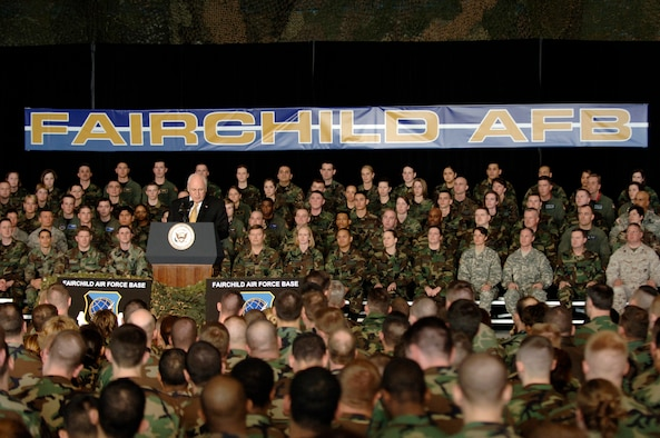 Vice President Richard B. Cheney addresses a crowd of more than 600 servicemembers and community members during a visit to Fairchild Air Force Base, Wash., on Monday, April 17, 2006. The vice president highlighted the role Fairchild plays in the war on terrorism and thanked the troops for their contributions and sacrifices. (U.S. Air Force photo/Staff Sgt. Laura K. Smith)
