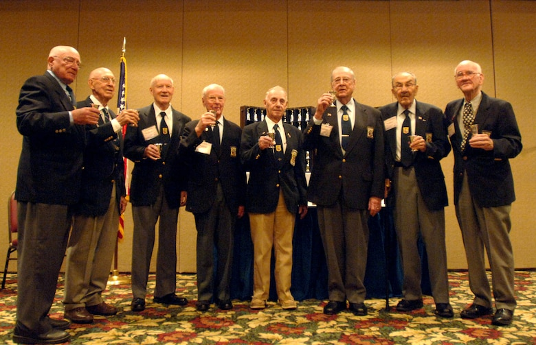 Eight of the surviving 16 Doolittle Raiders raise their goblets for their fallen brothers during their 64th reunion in Dayton, Ohio, April 18, 2006. (U.S. Air Force photo/Tech. Sgt. Cecilio M. Ricardo Jr.)
