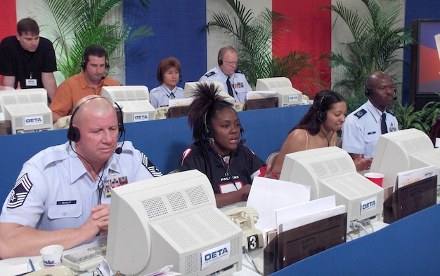 """Several members of the 507th ARW, including Chief Master Sgt. John Beasley, left, and Master Sgt. Clifton Howard, far right, volunteered to work at the Oklahoma Educational Television Authority telethon recently. In a six-hour period the 17 volunteers helped raise more than $29,000.  """"After starting off a little slow, everyone got into the swing of things and we had a great time,"""" said Sergeant Howard, 72nd Aerial Port Squadron and volunteer organizer. """"I appreciate everyone who took the time to come out and help us out on their Saturday. Hopefully we will have an even bigger crew next year,"""" he said."""