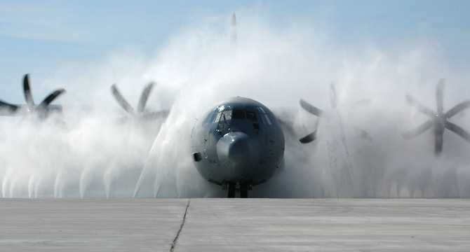 Aircraft assigned to the 403rd Wing's two flying squadrons now have a new purpose-built wash system designed specifically for the unit and its missions. In both airlift and weather reconnaissance missions, the 815th Airlift Squadron and 53rd Weather Reconnaissance Squadron, fly many hours over the Gulf of Mexico. Salt and moisture could lead to corrosion without a system for keeping the aircraft clean. The new wash blasts each J-model with 2,000 gallons of water per minute, emitting 150 pounds of pressure from each of its 40 nozzles.