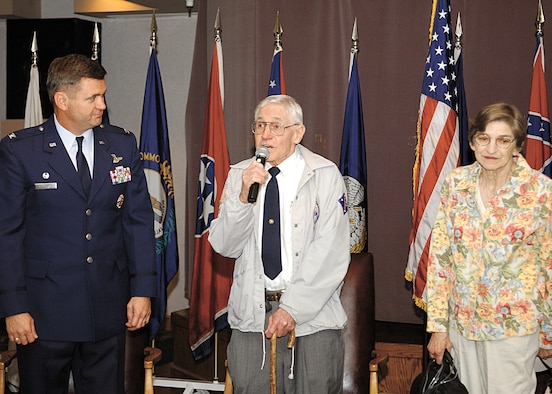 CANNON AIR FORCE BASE, N.M. - Retired Marine 1st Sgt. Robert Simmons, who was inducted into the Cannon Airman Leadership School's Wall of Heroes April 14, recalls his experiences during his 20-year career in the military which included service in the Korean War. Mr. Simmons spoke at the ALS shortly before he became the 13th member of the  Wall of Heroes. (U.S. Air Force photo by Staff Sgt. April Wickes)