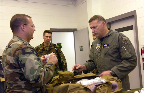 Capt. David Williams, 820th Security Forces Group, briefs Lt. Gen. Gary North, 9th Air Force commander, April 19  during his tour about the new Warrior Aid and Liter Kit, which is an expanded, vehicle-mounted Self-Aid and Buddy Care system. The general also spoke at an Airmen's Call, where he explained although Moody has changed to Air Combat Command, its mission and focus has not changed. (Photo by Airman Elizabeth Rissmiller)
