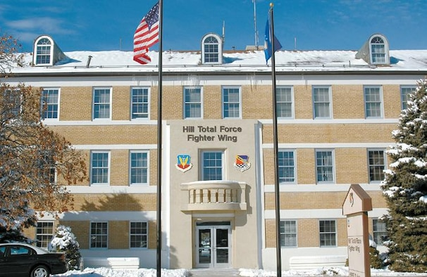 The newly renovated headquarters building?s exterior has been changed to show it will become home for both the 388th and 419th Fighter Wings of the Hill Total Force Fighter Wing.