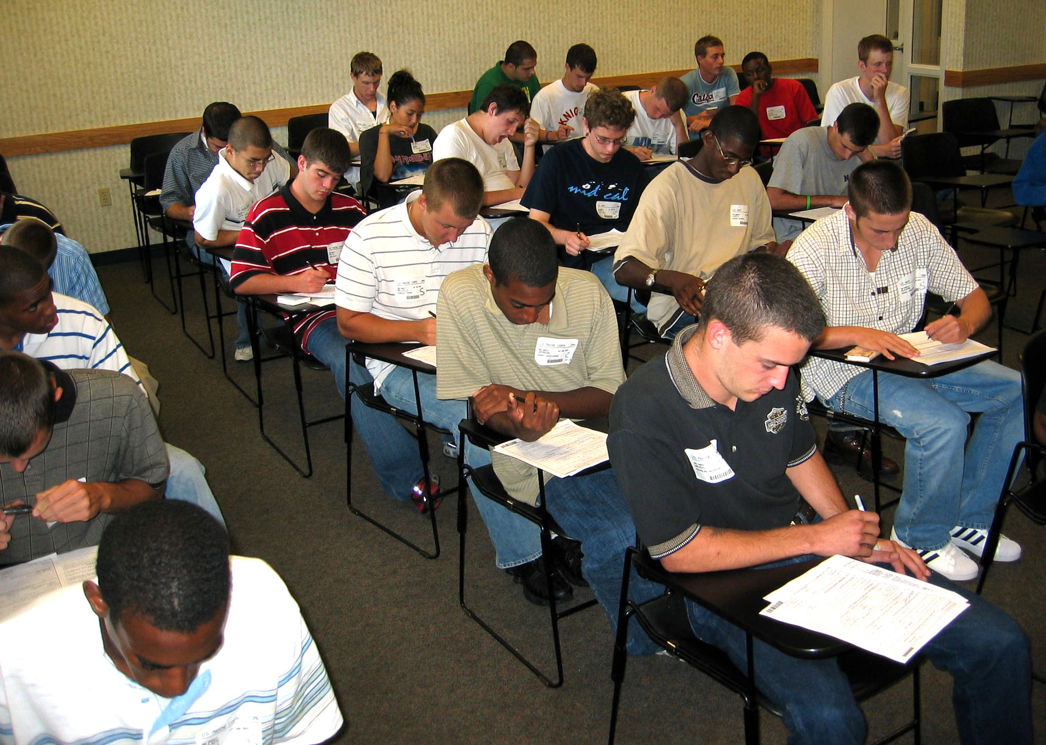 New recruits review their military contracts one last time before