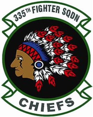 335th Fighter Squadron shield (color), provided by 4th Fighter Wing Public Affairs.