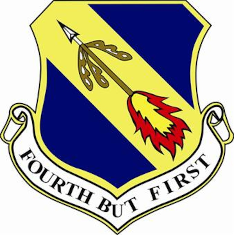 4th Fighter Wing shield (color), provided by 4th Fighter Wing Public Affairs.