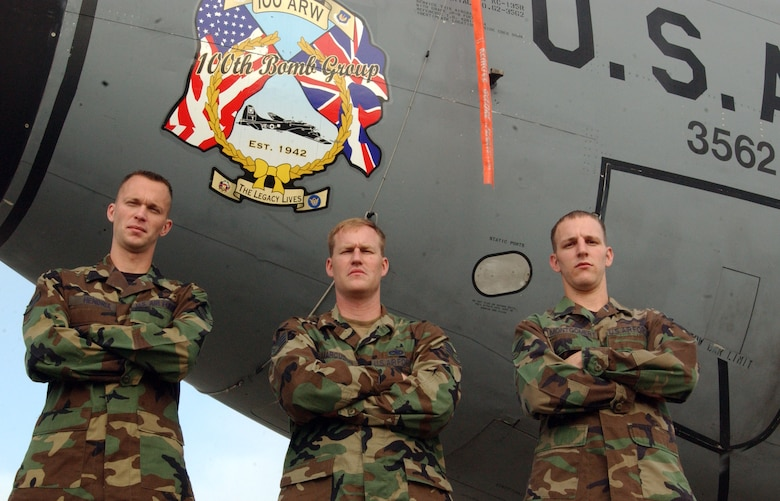 From left to right, Airman 1st Class Austin Hendrix, Staff Sgt. Mark Marcuson and Senior Airman Daniel Montgomery are three of the four maintainers from the 100th Aircraft Maintenance Squadron responsible for KC-135, tail number 62-3562, flying out with a black letter initial July 21. The black letter initial meant  there was nothing wrong with the plane, no work orders were due and nothing needed to be fixed or replaced.  (U.S. Air Force photo by Airman 1st Class Teresa Pumphrey)