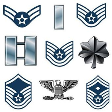 A sampling of officer and enlisted ranks in the United States Air Force