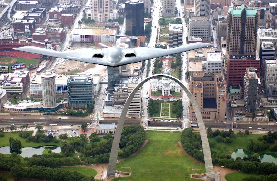 A B-2 Stealth bomber from the 509th Bomb Wing at Whiteman Air Force Base, Mo., flies over the St. Louis Arch on Aug. 10. The B-2 flyover was one of several events celebrating Air Force Week in St. Louis. (U.S. Air Force photo/Tech. Sgt. Justin D. Pyle)