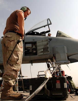 Tech. Sgt. Carl Clark (left) and Master Sgt. Dan Abrams perform an altimeter check on an A-10 Thunderbolt II at Bagram Air Base, Afghanistan, on Aug. 17. They are deployed from the Air Force Reserve Command's 442nd Fighter Wing at Whiteman Air Force Base, Mo. (U.S. Air Force photo/Master Sgt. Orville F. Desjarlais Jr.)