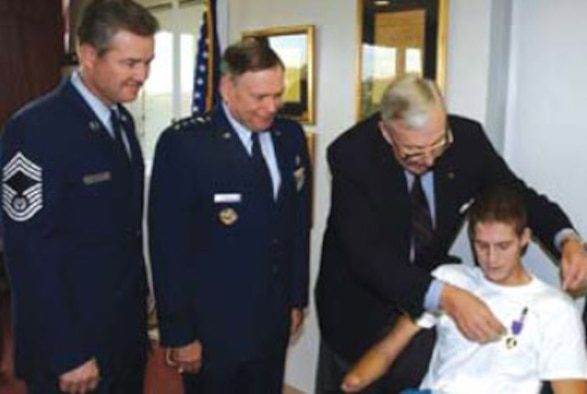 Brian G. Kolfage, personnel security clerk assigned to the 355th Security Forces Squadron, was severely wounded while deployed to Balad, Iraq, in 2004. Mr. Kolfage was awarded the Purple Heart for his injuries. (Coutesy photo)