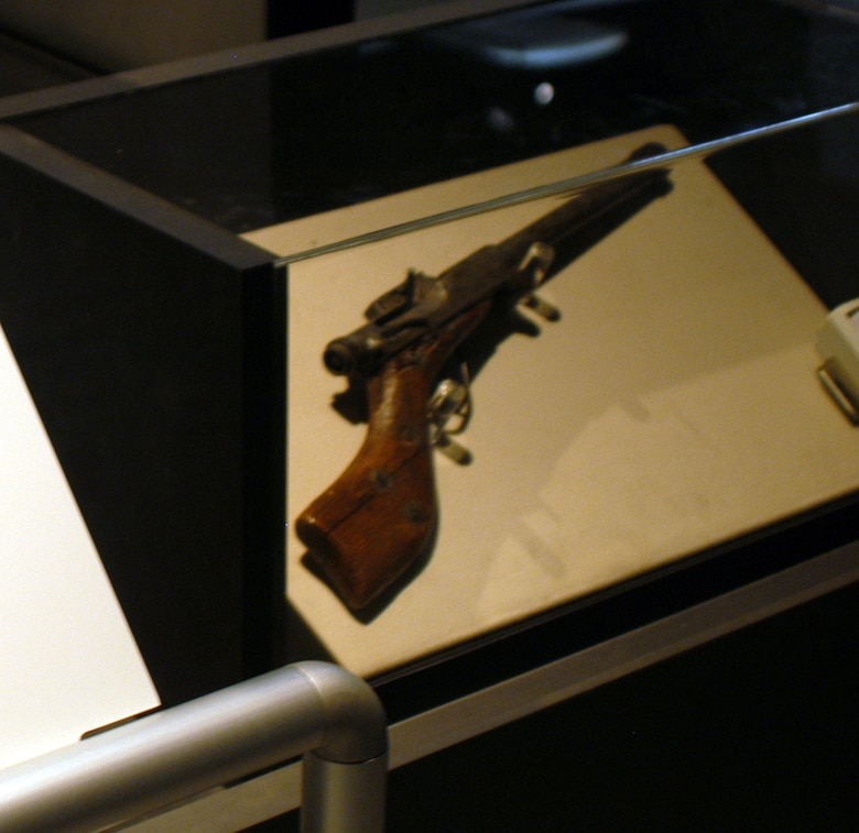 DAYTON, Ohio - Home-made, 12-gauge shotgun used by Bosniac fighters on display in the Cold War Gallery at the National Museum of the U.S. Air Force. (U.S. Air Force photo).
