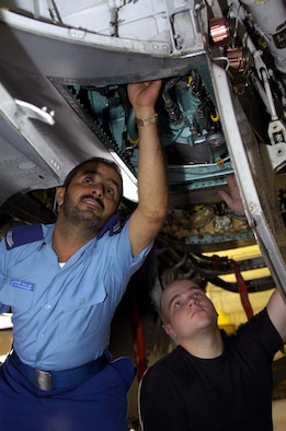 EGLIN AIR FORCE BASE, Fla. -- Senior Airman Joshua Hampton, 33rd Maintenance Squadron phase inspection technician, shows Royal Saudi air force Sgt. Maj. Mohammed Al-Qahtani Fahad areas of concern when dealing with the right main landing gear hydraulic reservoir on an F-15C Eagle July 25 in the 33rd MXS Phase Dock. (U.S. Air Force photo/Staff Sgt. Phillip Butterfield)