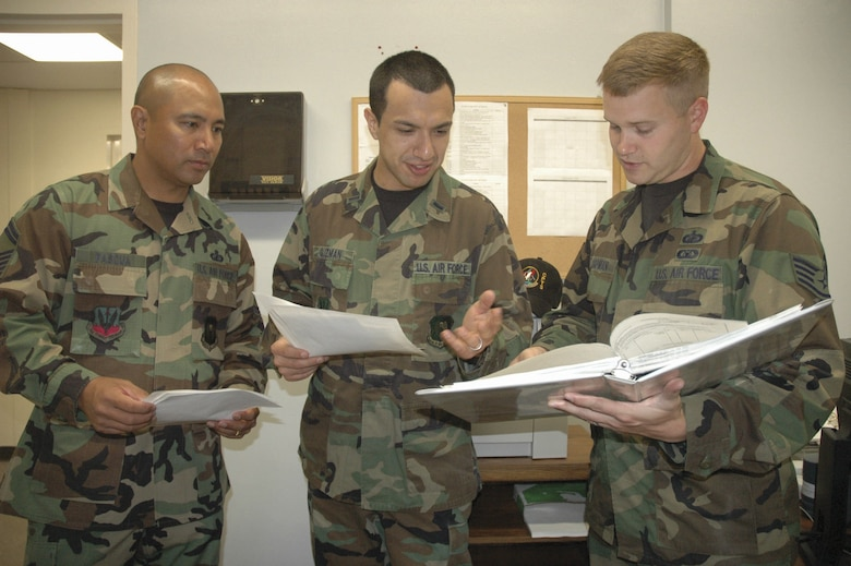 MINOT AIR FORCE BASE, N.D. -- Left to right: Senior Master Sgt. Jose Pascua, 5th Comptroller Squadron superintendent, 1st Lt. Juan Guzman, 5th CPTS deputy financial services officer, and Staff Sgt. Philip Chapman, 5th CPTS budget and accounting technician, review funding documents for a purchase request for an automatic car wash at the 5th CPTS Budget office Wednesday.(U.S. Air Force photo by Airman 1st Class Ross Tweten)