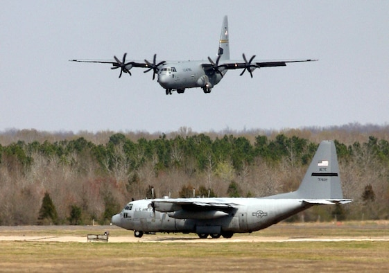 LITTLE ROCK AIR FORCE BASE, Ark. (AETCNS) -- The C-130J Hercules is the latest addition to the C-130 fleet. The C-130J provides life-cycle cost savings over earlier models. Compared to older aircraft, the J model climbs faster and higher, flies farther at a higher cruise speed, and takes off and lands in a shorter distance. (U.S. Air Force photo by Senior Airman Tim Bazar)