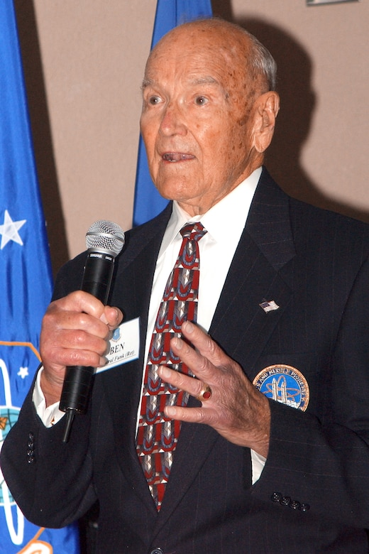 Retired Maj. Gen. Ben I. Funk takes his place in the Air Force Space and Missile Pioneers Hall of Fame in a ceremony Aug. 24 at Headquarters Air Force Space Command at Peterson Air Force Base, Colo. (U.S. Air Force photo by Duncan Wood)