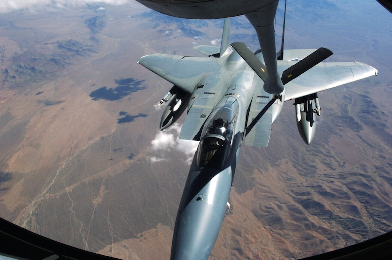 NELLIS AFB, Nev. -- An F-15 Eagle from Kadena Air Base, Japan, takes on fuel from a KC-135 tanker from the 6th Air Mobility Wing, MacDill AFB, Fla., Aug. 23 during exercise Red Flag. The KC-135s provide refueling support for both the Blue and Red forces, which typically number 80 aircraft or more. Red Flag hones the combat skills of U.S. and allied aircrews. (U.S. Air Force photo/Airman 1st Class Andy Dumboski)