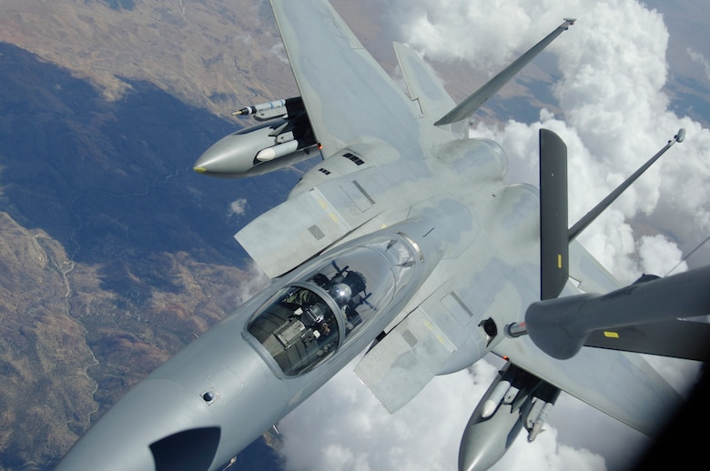 NELLIS AFB, Nev. -- An F-15 Eagle from Kadena Air Base, Japan, prepares to take on fuel from a KC-135 aerial tanker during exercise Red Flag at Nellis AFB, Nev., Aug. 24. Red Flag puts more than 80 combat and support aircraft in the air twice daily to sharpen U.S. and allied warfighting skills. The Red Flag exercise ends Sept. 2. (U.S. Air Force photo/Senior Airman Travis Edwards)