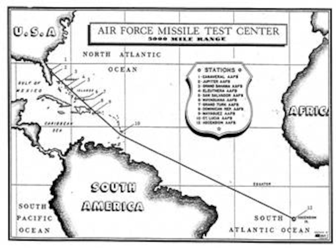 In October 1952, the Air Research and Development Command approved a plan to extend the Eastern Range's length to 5,000 miles to meet SNARK and NAVAHO missile testing requirements. Antigua, St. Lucia, Fernando de Noronha and Ascension were tentatively selected as host sites, and agree-ments were negotiated with the governments of Britain, St. Lucia, Brazil and Ascension to authorize construction. The St. Lucia and Ascension agree-ments were signed on 26 June 1956, and the Brazilian Agreement was signed on 21 January 1957. Following an exchange of notes with the State Department, Britain granted the U.S. access to Antigua on 15 January 1957. The St. Lucia site was activated on 5 December 1956, and Antigua and Ascension were ready for operations in October 1957. The Fernando de Noronha station was activated off the coast of Brazil on 18 September 1958. Twelve small telemetry ships were positioned downrange to fill in the gaps between Antigua and Ascension in 1957 and 1958.** The Eastern Range supported its first 5,000-mile-long mission (a SNARK test flight) on 31 October 1957.