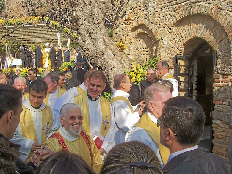 Chaplain (Maj.) Steven Brosk, 39th Air Base Wing Catholic Priest, (holding red book) concelebrated the papal mass in Ephesus, Turkey, Nov. 29, with a group of about 30 priests. (Courtesy photo)