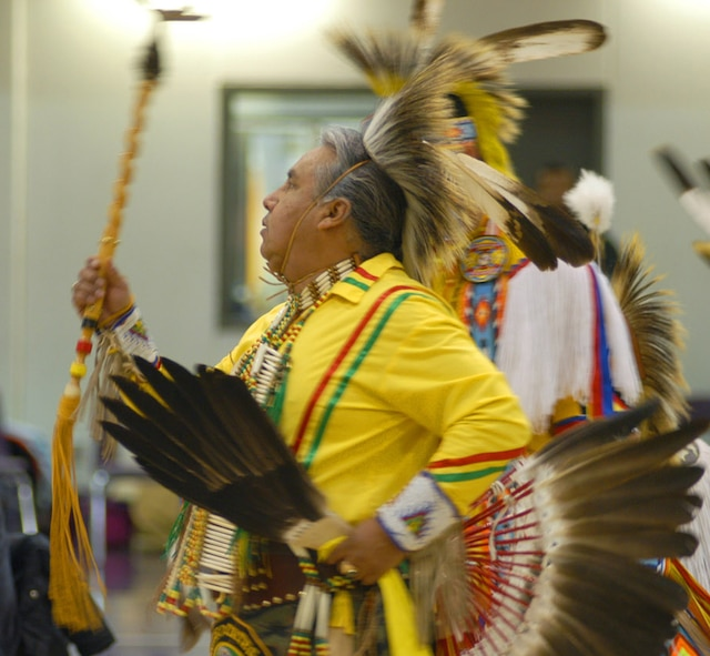 Richard Barea, a tribal dancer from the Omaha Tribe, performes in authentic tribal dress as part of the Native American Heritage Observance month culture fair held at the Lied Activity Center in Bellevue, Neb., on Nov. 15, 2006. (Air Force Photo by Daniel J. Rohan Jr.)