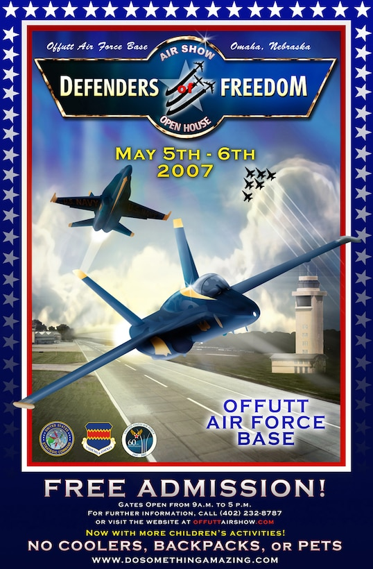 The U.S. Navy's Blue Angels and the U.S. Army's Golden Knights will headline Offutt's annual 2007 'Defenders of Freedom' Air Show May 5 and 6. (Air Force graphic by Josh Plueger)