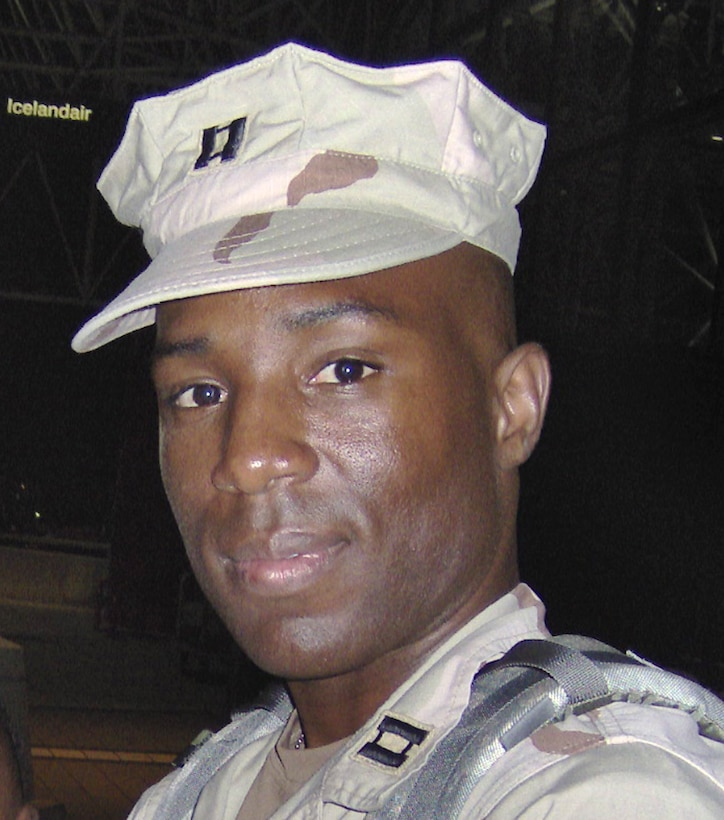 Captain Kermit Evans, commander of the 27th Civil Engineer Squadron Explosives Ordnance Disposal Flight, at Cannon Air Force Base, N.M. was killed in an emergency helicopter landing Dec. 3 near the shore of Lake Qadisiyah in western Al Anbar Province, Iraq. Captain Evans was one of 16 people aboard the Marine CH-46 helicopter and one of four servicemembers killed as a result of the landing. He is survived by a wife, Perneatha and 13-month-old son, Kermit Jr. (Courtesy photo)
