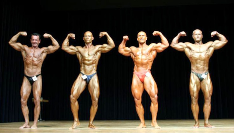 Master Sgt. Troy Saunders (2nd from left) traveled from Spangdahlem Air Base to Cuxhaven, Germany to represent the United States and the Air Force when he competed in the legendary Mr. Universe competition Dec. 2. Sergeant Saunders placed 11th in his category and 15th in the final judging. (Courtesy photo)