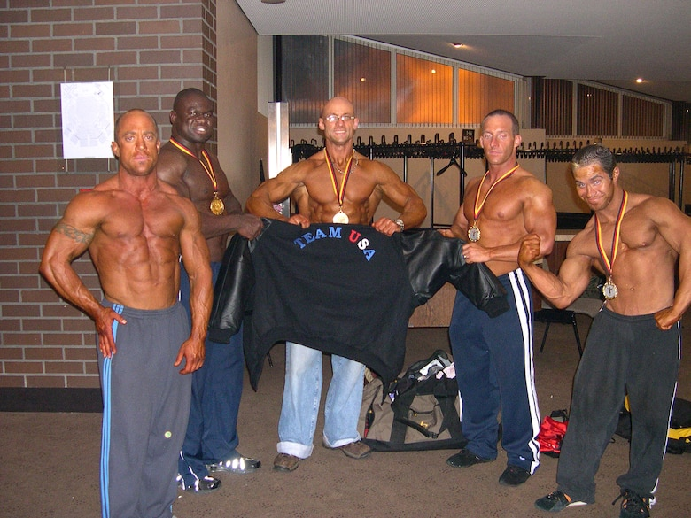 Master Sgt. Troy Saunders (middle) and Senior Airman Justin Usery (far left) are amongst members of the American Team who competed in the Mr. Universe competition. All of the American competitors placed in the top-15 of their classes. Sergeant Saunders and Airman Usery are both assigned to Spangdahlem Air Base. (Courtesy photo)