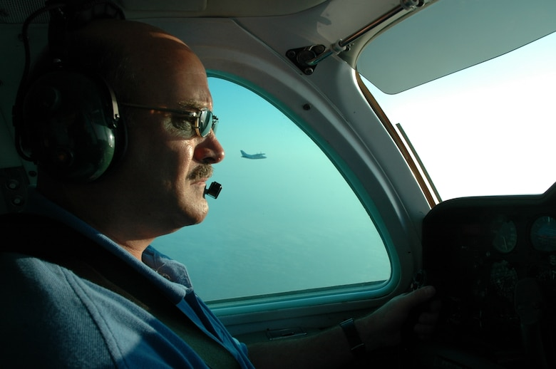 TYNDALL AIR FORCE BASE, Fla. --  Joe Cannizzo flies the Mitsubishi MU-2 flight training aircraft during an Air Battle Manager training mission. (U.S. Air Force photo by 1st Lt. Jon Quinlan)