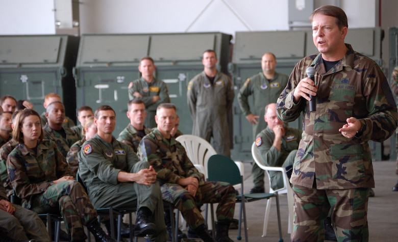 Chief Master Sgt. of the Air Force Rodney J. McKinley speaks to Airmen Dec. 12 at Manta Forward Operating Base in Ecuador. Manta is at the center of the U.S. war on drugs in Latin America. He discussed the importance of bringing back roll call, saying that supervisors are the key to getting top-level Air Force information to Airmen as well as getting feedback from the Airmen. (U.S. Air Force photo/Louis Arana-Barradas)