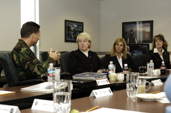 Col. Scott Hanson, 92nd Air Refueling Wing commander, and his wife, Rhonda (3rd from left,) U.S. Sen. Patty Murray, and Jennifer Lavoie, spouse of Senior Master Sgt. Brian Lavoie, 92nd Operations Support Squadron, along with other spouses of Airmen met Monday to discuss issues faced by military families. This coffee session was hosted by the Fairchild Airman and Family Readiness Center.