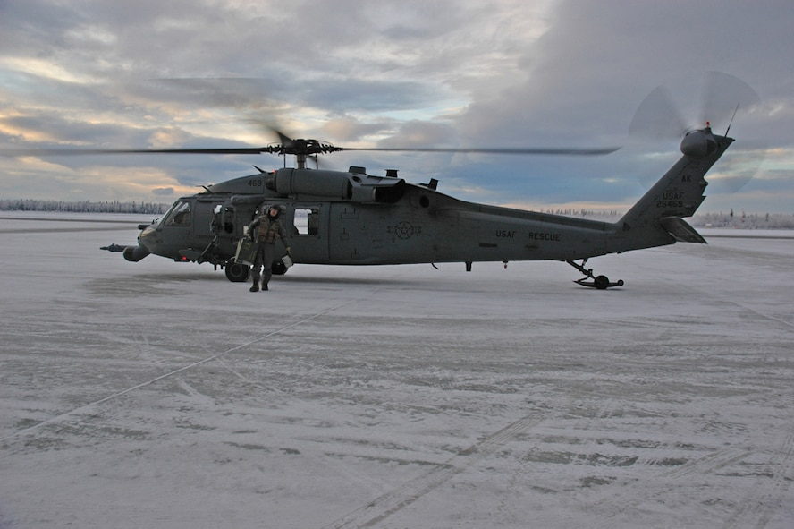 EIELSON AIR FORCE BASE, Alaska--A Pavehawk sits on the flightline after another successfully completed training mission is complete. (U.S. Air Force photo by Airman Nora Anton)