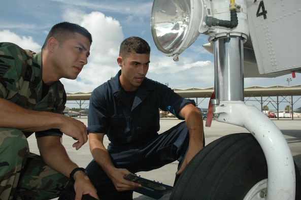 TYNDALL AIR FORCE BASE, Fla. --  Tech. Sgt. Eric West, quality assurance evaluator, listens as Senior Airman Matthew Reed, assistant crew chief, explains the steps of a nose landing gear inspection. (U.S. Air Force photo by Master Sgt. Mary McHale)