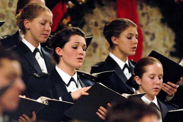 """Cadets perform during the annual U.S. Air Force Academy's """"Messiah"""" concert Dec. 8 at the Cadet Chapel in Colorado Springs, Colo. The Cadet Chorale is the academy's premiere choral organization. (U.S. Air Force photo/Mike Kaplan)"""