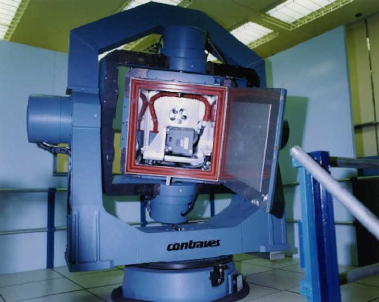 Contraves Model 53Y, 3-axis table, 720 degrees/second rotation, with environmental chamber capable of 100 pound test item.